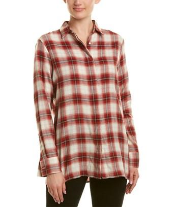 Maje Plaid Woven Shirt In Red