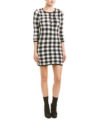 Maje Checkered Sweaterdress In Black