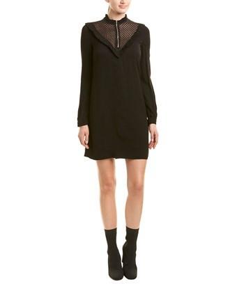 Maje Ruffle Shift Dress In Black