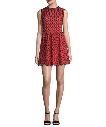 Red Valentino Silk Embroidered A-line Dress In Nocolor