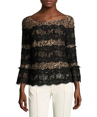 Tracy Reese Embroidered Lace Striped Blouse In Nocolor