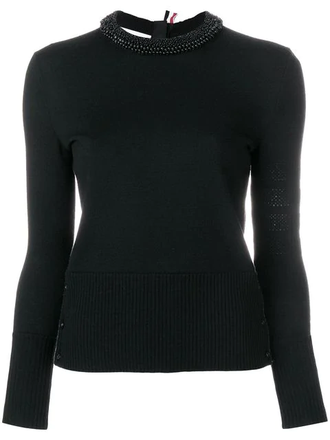 Thom Browne Pearl Embroidered Merino Pullover In Black