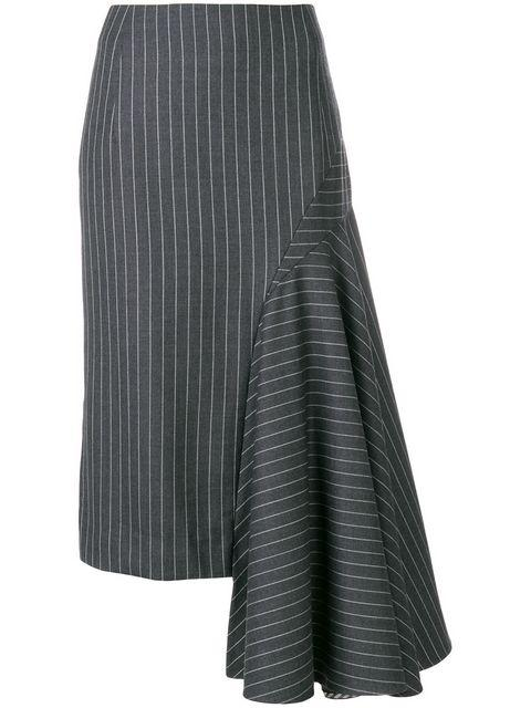 Thom Browne Draped Chalk Stripe Skirt - Grey