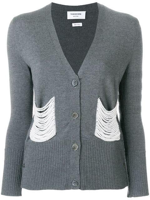 Thom Browne Pearl Embroidered Merino V-neck Cardigan In Grey