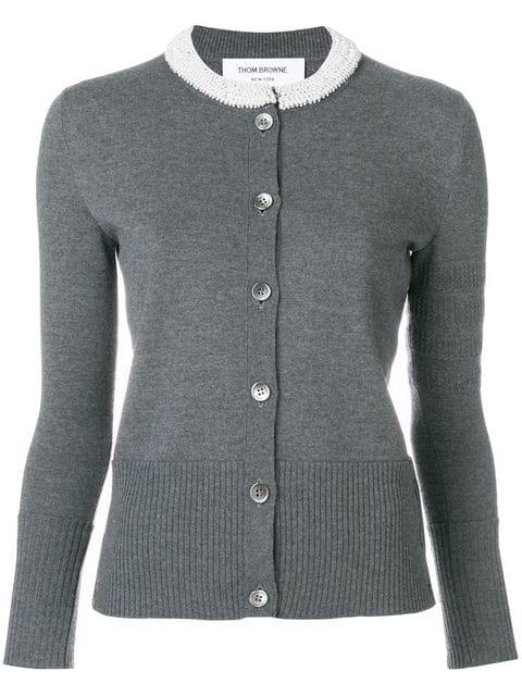 Thom Browne Pearl Applique Wool Crewneck Cardigan - Grey