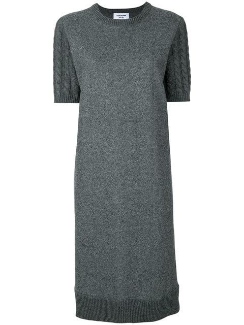 Thom Browne Wool Flannel Cable Knit Sweater Dress - Grey