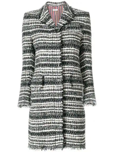 Thom Browne Banker Stripe Chesterfield Overcoat In Grey