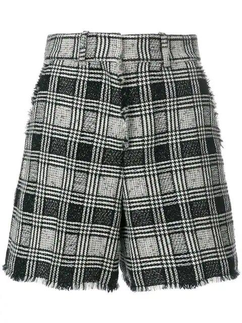 Thom Browne Prince Of Wales Tweed Sack Short - Black