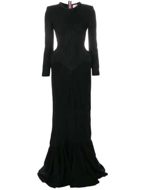 Thom Browne Wool Crepe Anatomical Hip Pad Dress In Black