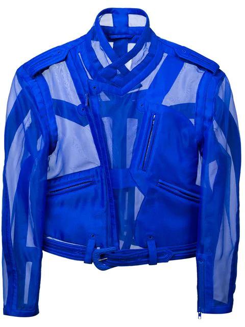 Maison Margiela Transparent Biker Jacket In Blue