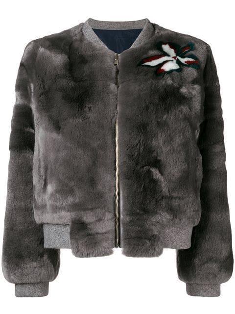 Liska Fur Bomber Jacket In Grey
