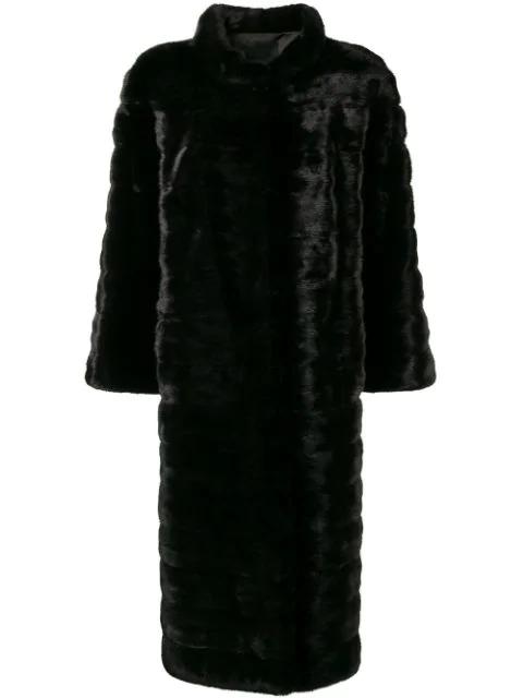 Liska High Neck Long Coat - Black In Blue