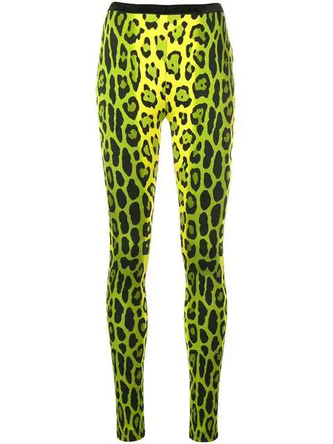 Tom Ford Leopard Print Skinny Trousers In Green