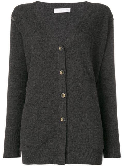 Fabiana Filippi Embellished Shoulder Longline Cardigan - Grey