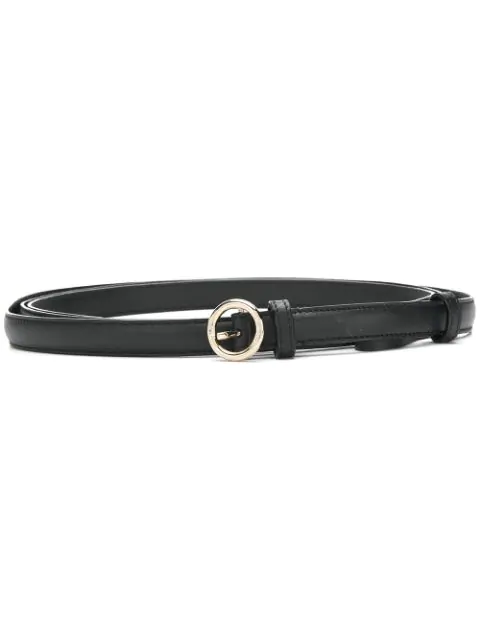 Nina Ricci Slim Circle Buckle Belt - Black