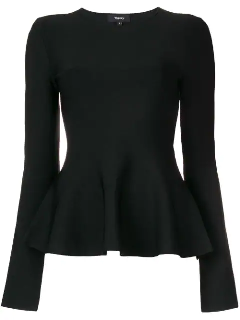 Theory Glossed Peplum Sweater In Black