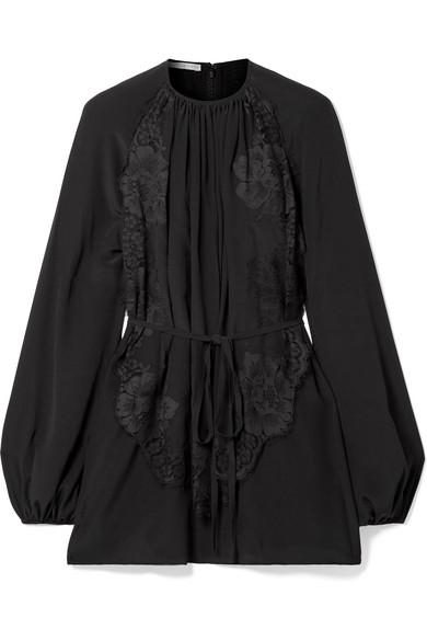 Stella Mccartney Belted Pleated Lace-appliquÉd Silk Blouse In Black