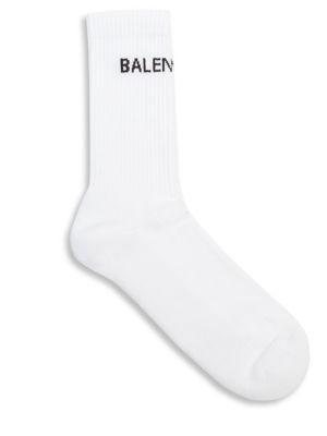 Balenciaga Logo Print Cotton Socks In White