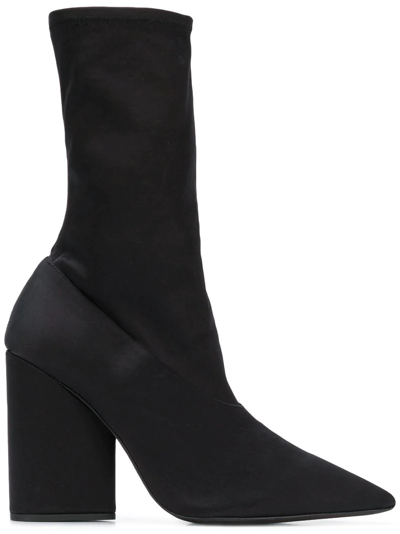 91ab0a3a46b Yeezy Pointed Block Heel Sock Boots - Black