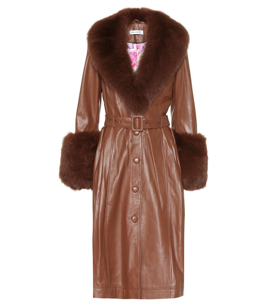 Saks Potts Foxy Fur-trimmed Leather Coat In Brown