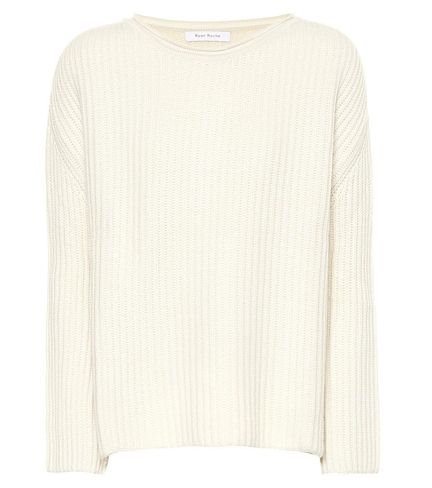 Ryan Roche Cashmere Sweater In Beige