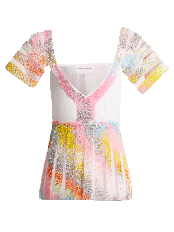 Germanier Bead-embellished Tulle And Jersey Top In Multi