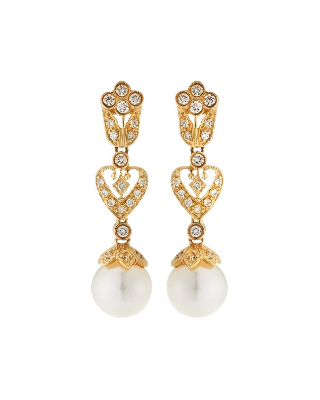 Belpearl 14k Gold Filigree Diamond & Pearl Drop Earrings