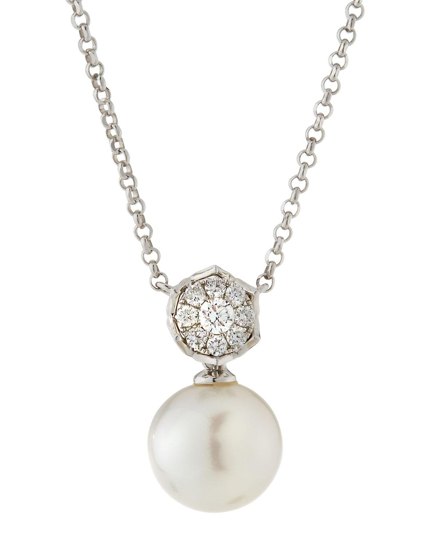 Belpearl 18k White Gold Diamond Octogon & Pearl Pendant Necklace