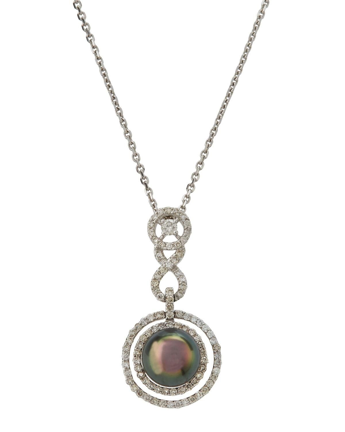 Belpearl 14k White Gold Geometric Pave & Pearl Pendant Necklace
