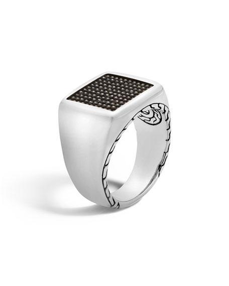 John Hardy Men's Classic Chain Signet & Black Rhodium Ring