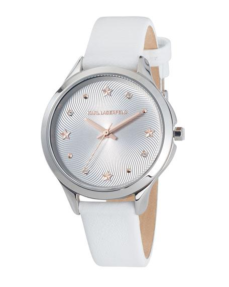 Karl Lagerfeld 38mm Karoline Leather Watch, Silver/white