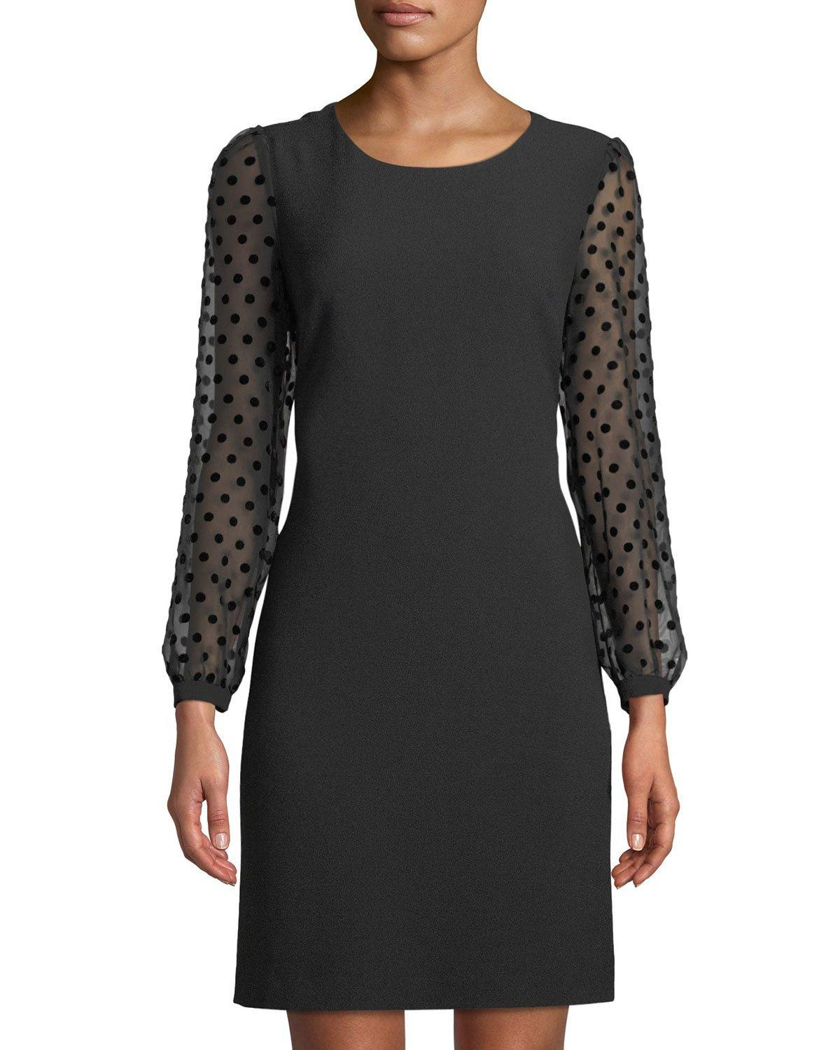 Karl Lagerfeld Polka-dot Burnout Sleeve Shift Dress In Black