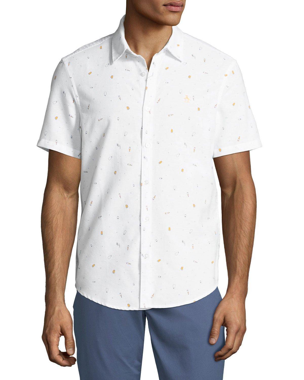 Original Penguin Men's Beer-print Short-sleeve Oxford Shirt In White