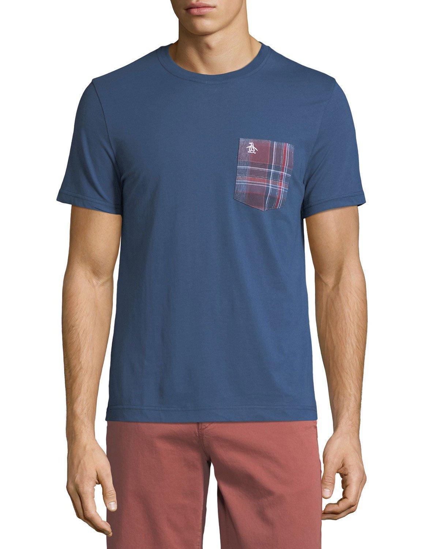 Original Penguin Men's Plaid-flannel Pocket T-shirt In Dark Blue