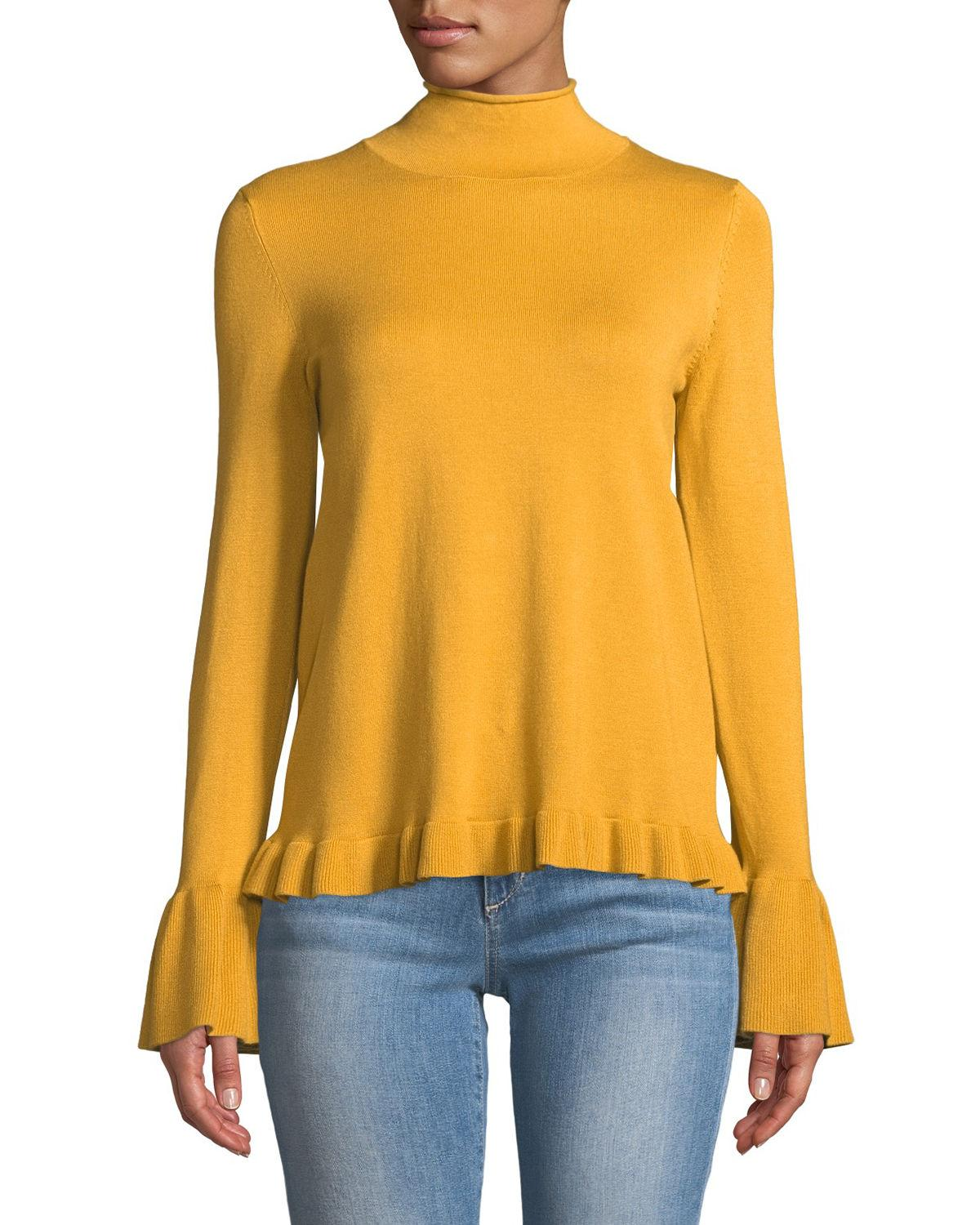 Neiman Marcus Mock-neck Flounce-trim Sweater In Gold