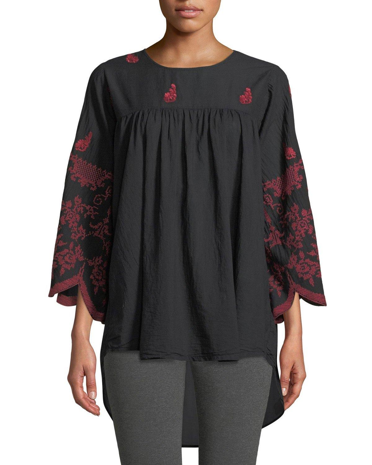 Johnny Was Rose-stitch Voile Blouse With Drama Sleeves In Black