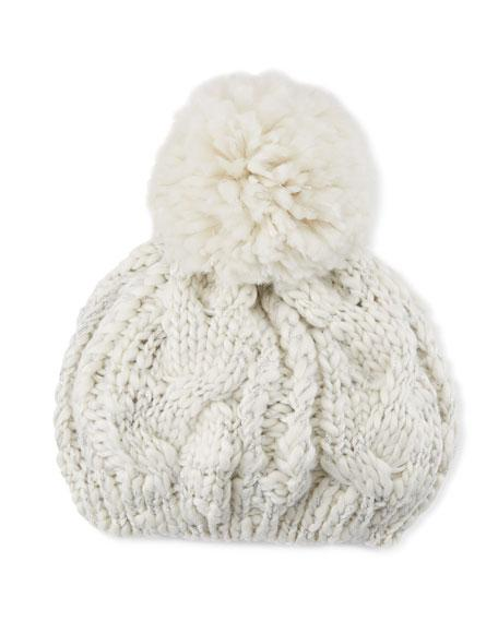 Neiman Marcus Chunky Cable Knit Beret With Pompom In Cream