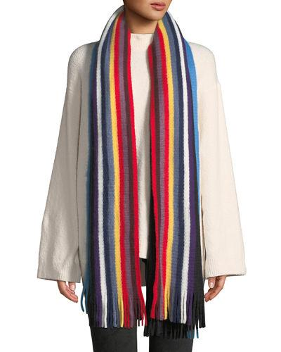 Neiman Marcus Multicolor Striped Fringe Scarf In Black Pattern