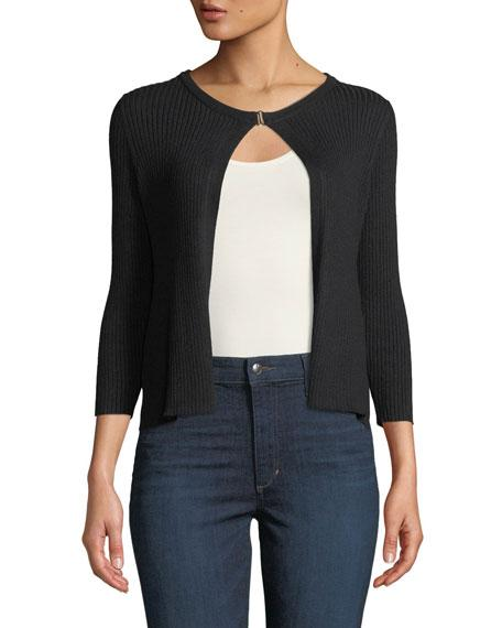 Neiman Marcus Tiered-ruffle Ribbed Shrug In Black