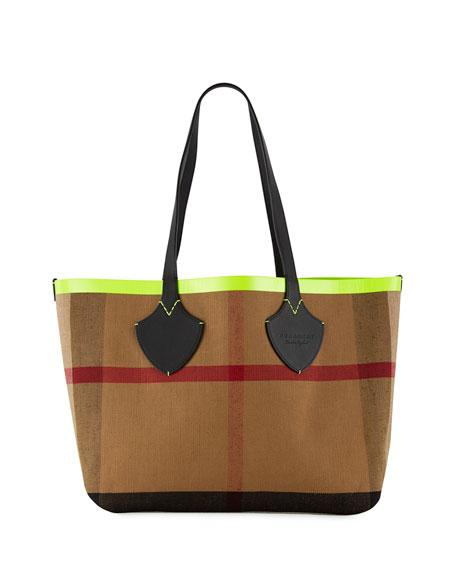 Burberry Check-print Canvas Tote Bag In Brown