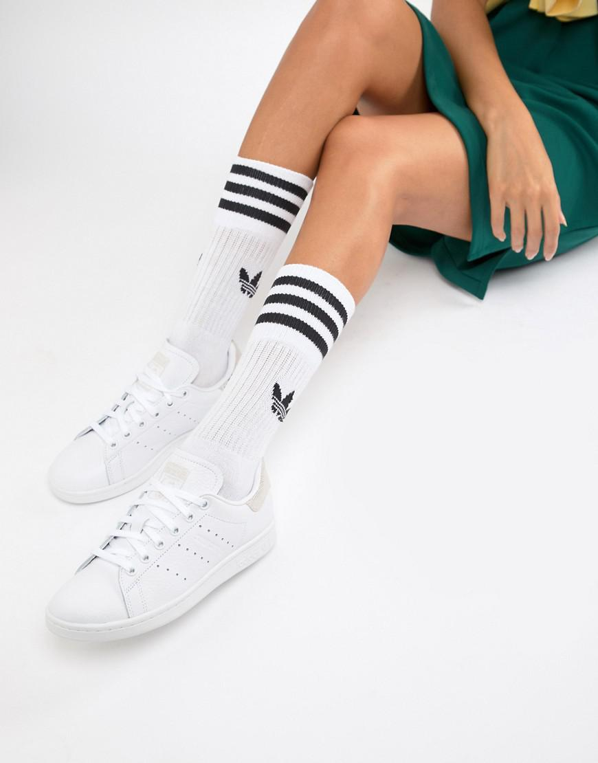 Adidas Originals Stan Smith Sneakers In White And Buff - White