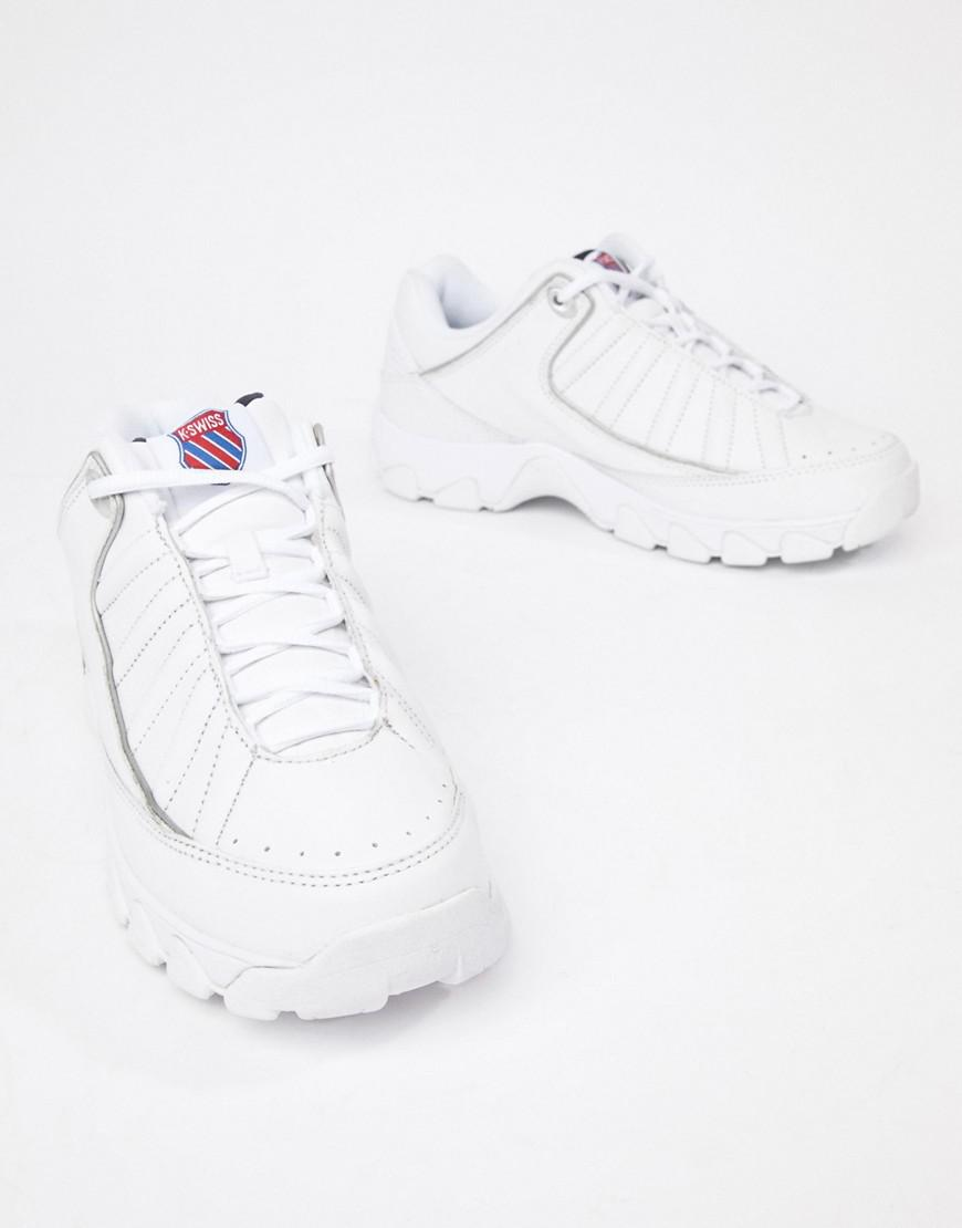 K-swiss St529 Heritage Chunky Sole Sneakers In White - White