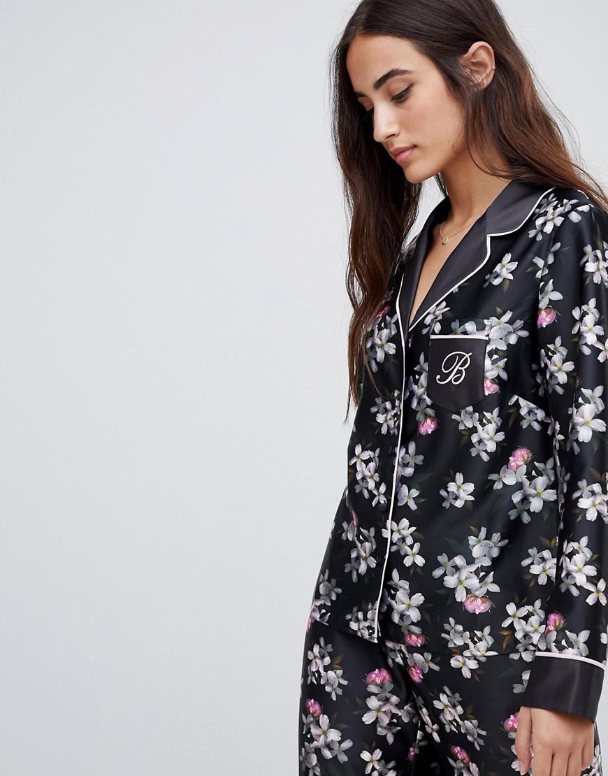 Ted Baker B By  Sunlit Floral Print Revere Pajama Top - Black