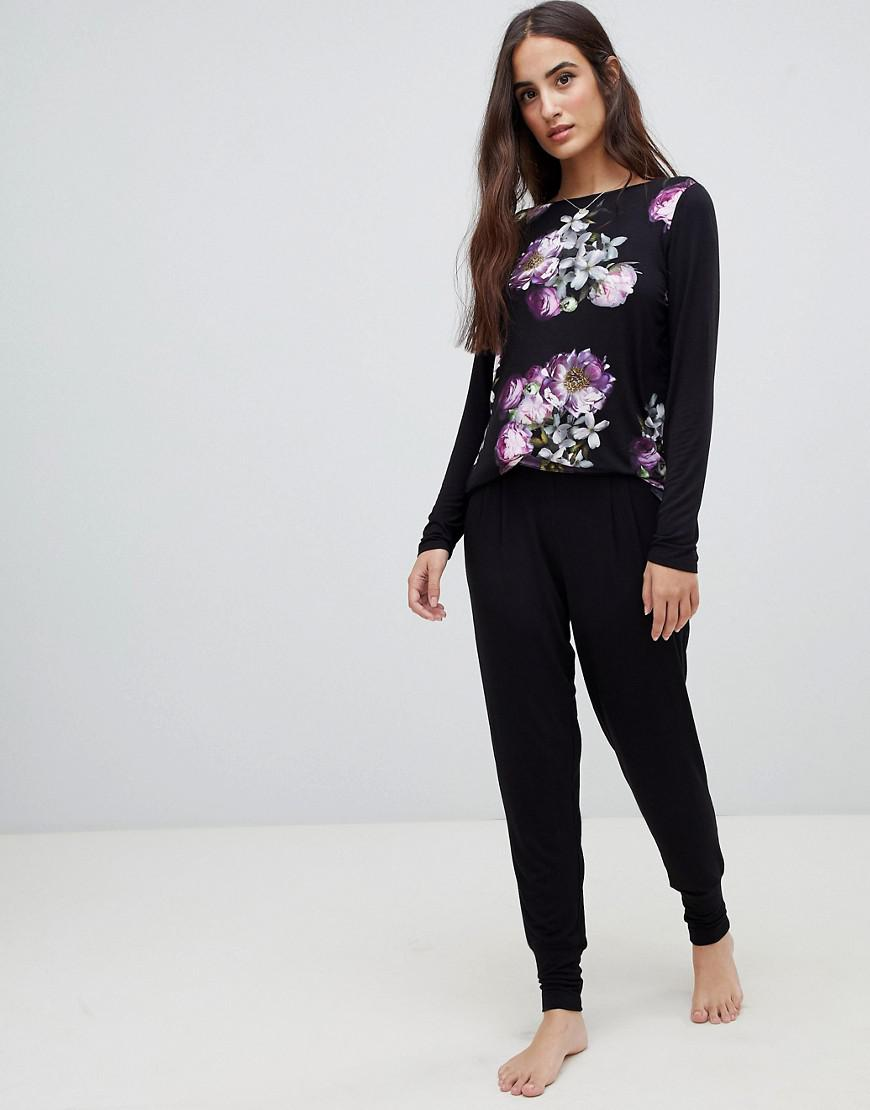 Ted Baker B By  Sunlit Floral Jersey Jogger With Printed Waistband-black