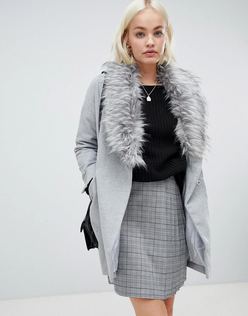 Girls On Film Boyfriend Coat With Faux Fur Detail - Gray