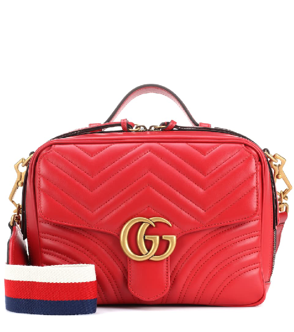 Gucci Gg Marmont Leather Shoulder Bag In 8227 Rosso
