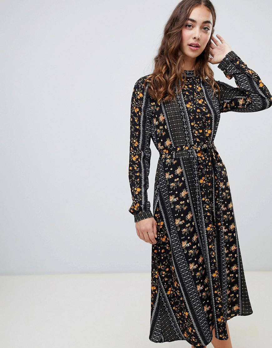 Vero Moda Mix And Match Print Mini Dress In Black - Black