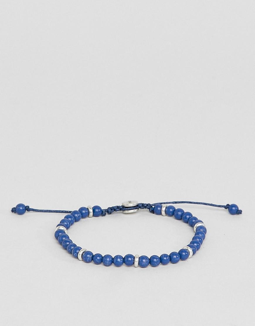 Fossil Mens Adjustable Blue Bead Bracelet - Blue