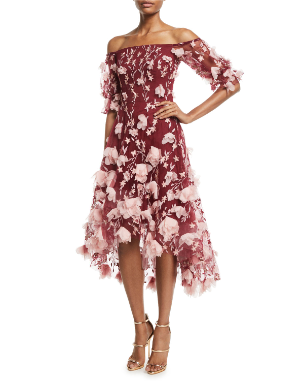 Marchesa Notte Off-the-shoulder 3d-floral High-low Cocktail Dress In Wine