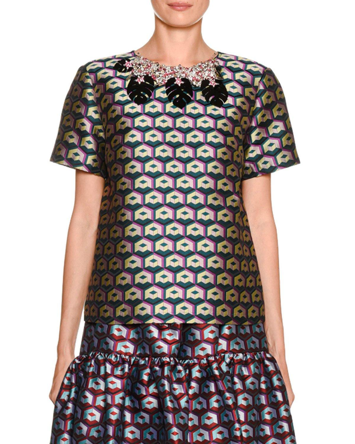 Double J Jazzy Jewel-neck Short-sleeve Geo-embroidered Tee In Multi Pattern